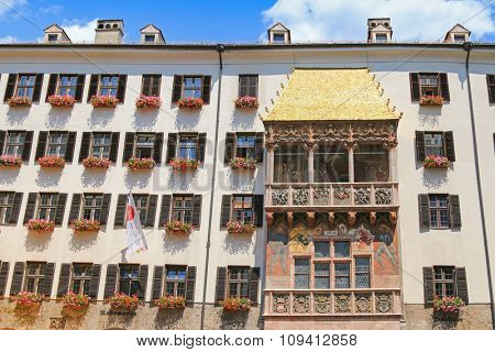 INNSBRUCK, AUSTRIA - JULY 2015 : The iconic Golden Roof (Goldenes Dachl) on Maria Theresien street in Innsbruck, Austria on July 11, 2015. The roof was built in the 15th century
