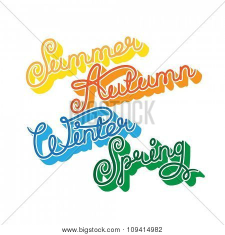 Handwritten seasons of the year: summer, autumn, winter, spring. Calligraphy words for calendars and organizers. Stock vector lettering typography