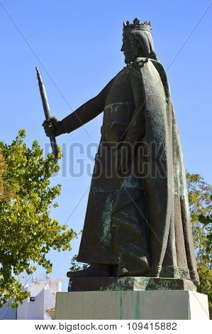 Statue of D. Afonso III of Portugal the king in the 13t