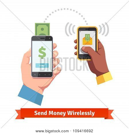 People sending and receiving money with smartphone