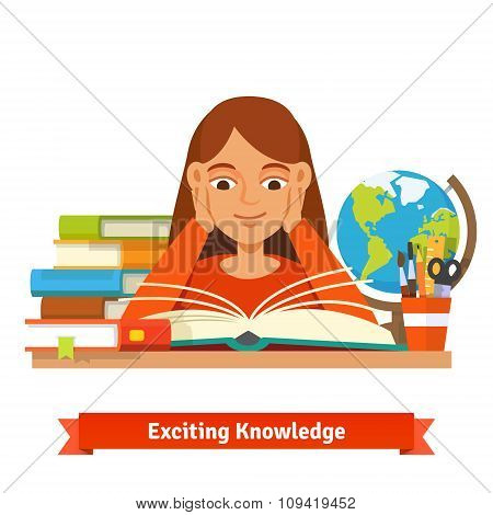 Young brown hair girl student reading a book