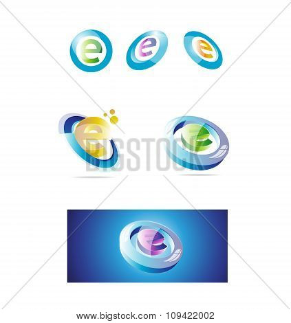 Letter E Logo Set 3D