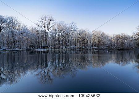 Snowy Winter Lake Reflections