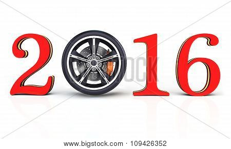 3D Happy New Year 2016 With Car Wheel