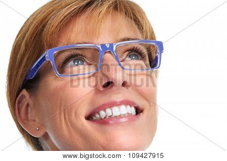 Mature business Woman face with blue eyeglasses.