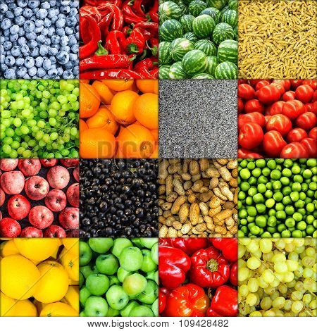 Mix Collage Of 16 In 1 Food Background Divided By Shadows: Tomatoes, Blueberry, Apples, Pasta, Peas,