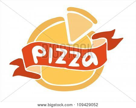 Pizza flat icon logo template. Pizza food silhouette. Pizza piece logo, pizza slice logo. Pizza menu illustration isolated. Pizza vector logo icon. Pizza logo vector logotype. Pizza service logo