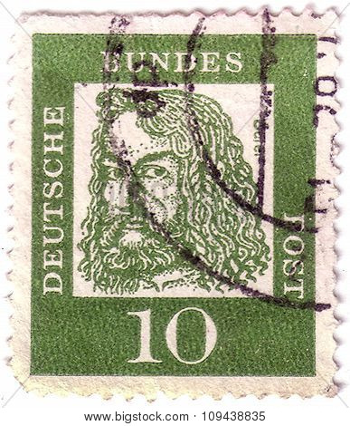 Germany - Circa 1961: A Stamp Printed In Germany, Shows Portrait Of Albrecht Durer A German Painter,