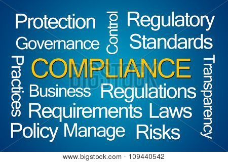 poster of Compliance Word Cloud on White Background