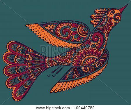Vector Hand Drawn Illustration Of Ornamental Fancy Bird.
