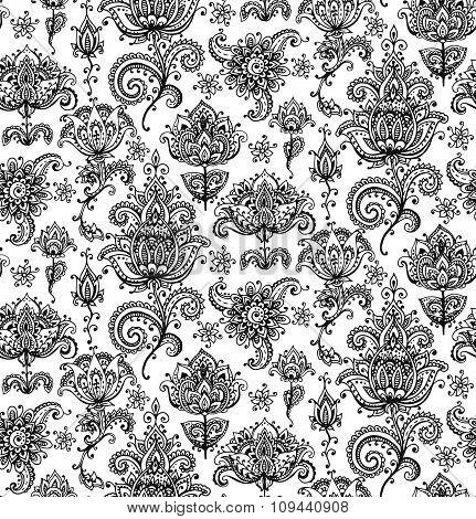 Vector Seamless Pattern With Hand Drawn Henna Mehndi Elements