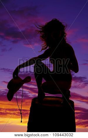 Silhouette Cowgirl On Barrel Hold Hat Hair Blow