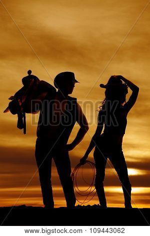 Silhouette Cowgirl Rope Hold Hat