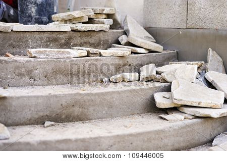 Flagstones Laid On Stairs