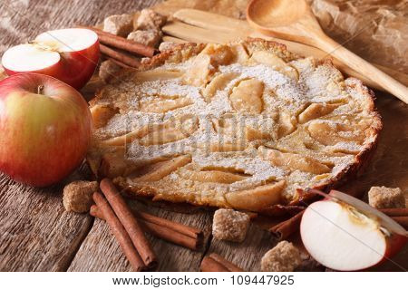 Dutch Baby Pancake With Apple On A Paper On The Table. Horizontal
