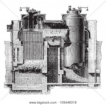 Combination boiler, Dulac system, vintage engraved illustration. Industrial encyclopedia E.-O. Lami - 1875.