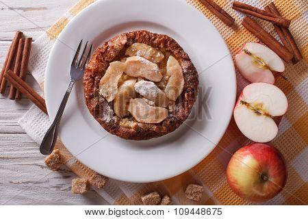 Dutch Baby Pancake With Apple And Cinnamon. Horizontal Top View