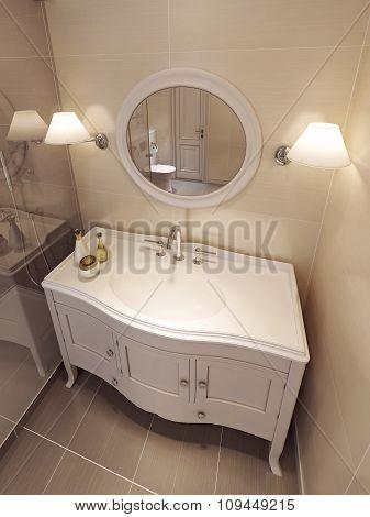 Bathroom Vanites In Beige Color, Classic Design.