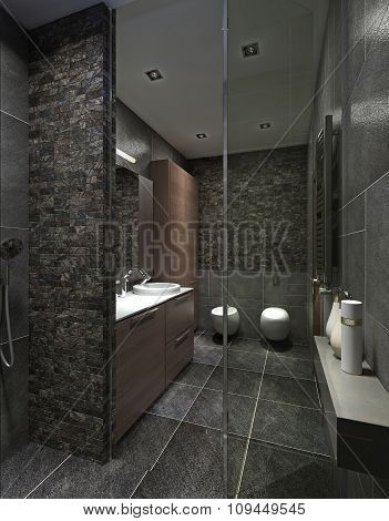 Modern Bathroom In Black Tile.