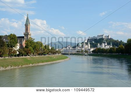 Old City At Salzach River In Salzburg In Austria