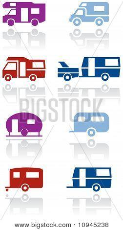 Wohnmobile oder Wohnwagen van Vektor Illustration Symbolsatz.