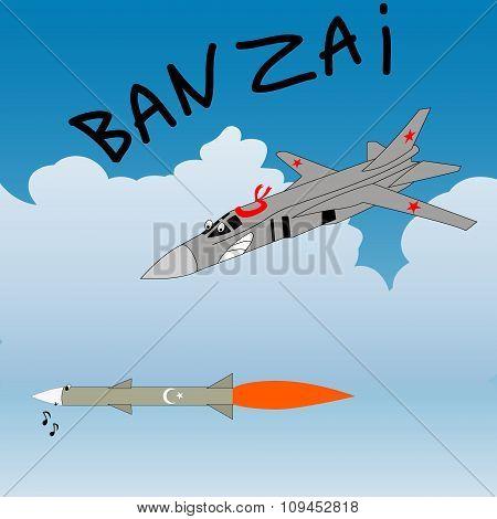 Satire Humor Sketch. Russian Plane Attacks The Turkey Rocket