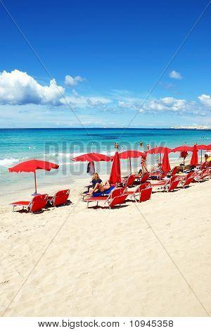 Red beach umbrellas
