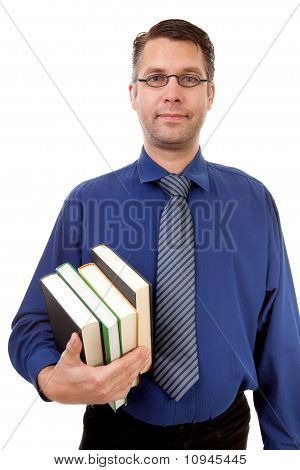 Male Nerdy Geek Carry Books
