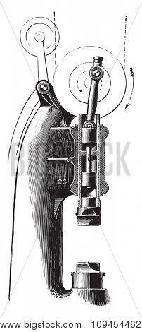 Compressed air hammer Mr. Piat, vintage engraved illustration. Industrial encyclopedia E.-O. Lami - 1875.