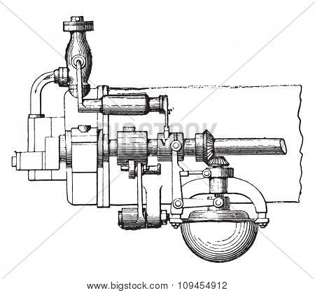 Otto engine governor, front view, vintage engraved illustration. Industrial encyclopedia E.-O. Lami - 1875.