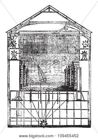 Section of Theater Opera built in the Palais Royal, by Moreau, vintage engraved illustration. Industrial encyclopedia E.-O. Lami - 1875.