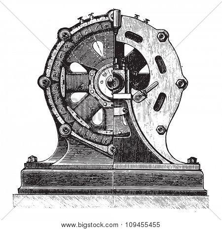 Machine AC and division, Mr. Gram, vintage engraved illustration. Industrial encyclopedia E.-O. Lami - 1875.