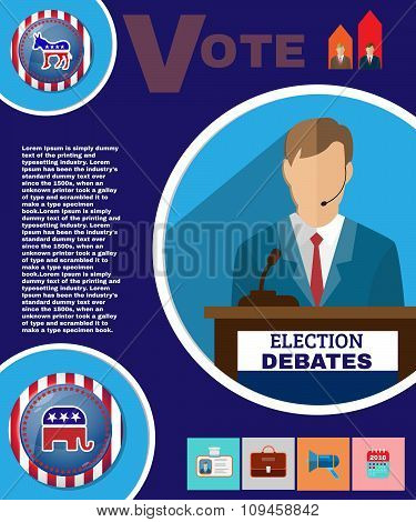 USA Presidential Election Debates Campaign Ad Flyer. Social Promotion Banner. American Flag's Symbolic Elements - Red Stripes and Blue Stars. Digital vector illustration. poster