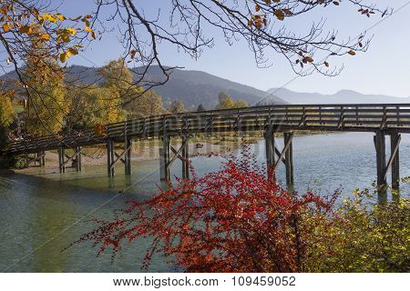 Wooden Bridge Over Mangfall River, Effluent Stream Of Lake Tegernsee