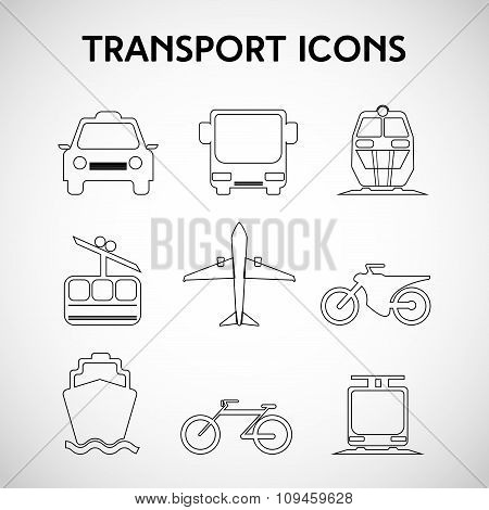 Transportation Big Black And White Icon Set