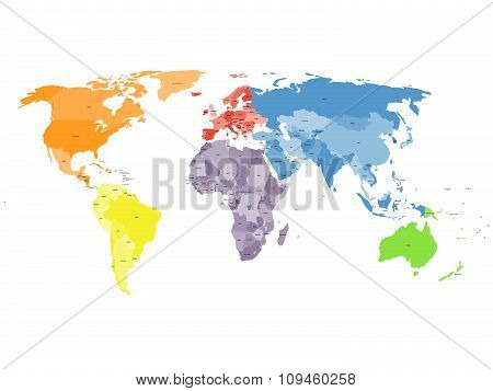 Political world map on white background.
