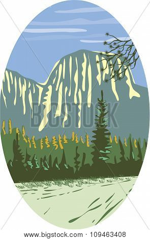 WPA style illustration of El Capitan a granite monolith and vertical rock formation in Yosemite National Park located on the north side of Yosemite Valley near its western end set inside oval shape done in retro style. poster