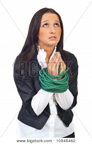 Executive Woman With Tied Hands Praying
