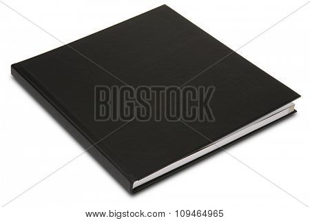 a black hardcover book on white