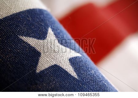 a detail of american flag - stars and stripes (shallow depth of field)