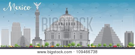 Mexico skyline with grey landmarks and blue sky. Business travel and tourism concept with historic buildings. Image for presentation, banner, placard and web site.