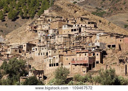 Typical berber village at Atlas mountain range, Morocco