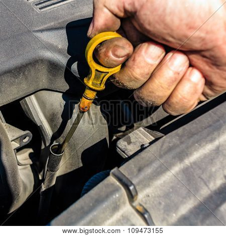 Man Inspects The Level Of Oil On Car Engine Dipstick