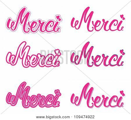 Merci set hand lettering. The handwritten word Thank you in French. poster
