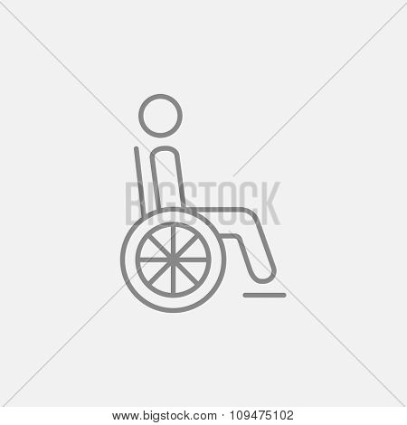 Disabled person sitting in the wheelchair line icon for web, mobile and infographics. Vector dark grey icon isolated on light grey background. poster