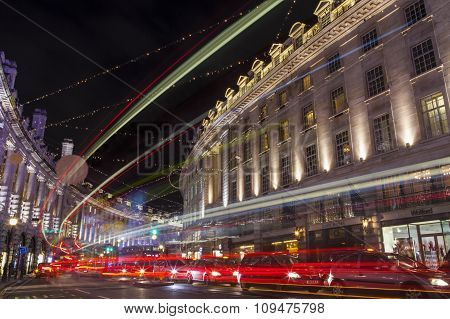 Regent Street In London At Christmas
