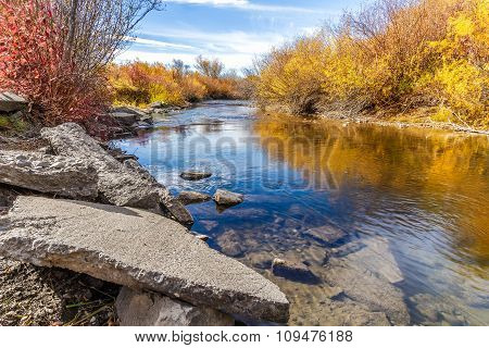 Cherry Creek running through the beautiful autumn landscape of Cherry Creek Nature Preserve on the outskirts of Bozeman Montana poster