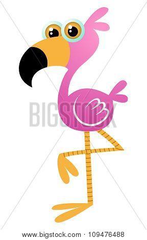 Vector Cartoon Flamingo
