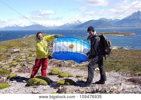 Men show argentinian flag