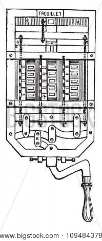 The seventeen white cartridges represent seventeen dialers, vintage engraved illustration. Industrial encyclopedia E.-O. Lami - 1875.